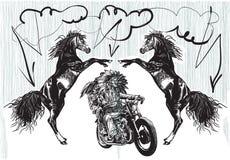 Στο ποδήλατο - οι αμερικανοί ιθαγενείς οδηγούν μια μοτοσικλέτα Στοκ Εικόνες
