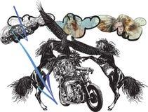 Στο ποδήλατο - οι αμερικανοί ιθαγενείς οδηγούν μια μοτοσικλέτα Στοκ φωτογραφία με δικαίωμα ελεύθερης χρήσης