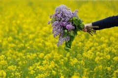 Στο χέρι του μια ανθοδέσμη του ιώδους τομέα λουλουδιών Στοκ Εικόνες