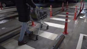 Στο χώρο στάθμευσης: Ωθώντας κάρρο αγορών ατόμων απόθεμα βίντεο