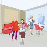 Στο hairdressing σαλόνι διανυσματική απεικόνιση