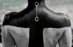 Στρέθιμο της προσοχής στο σώμα των αρχαίων συμβόλων Στοκ φωτογραφία με δικαίωμα ελεύθερης χρήσης