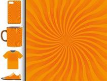 Στρίψιμο starburst του σχεδίου στο πορτοκάλι και κίτρινος διανυσματική απεικόνιση