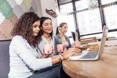 Στραμμένος τρεις σπουδαστές που εργάζονται με το σε απευθείας σύνδεση έγγραφο Στοκ Φωτογραφία