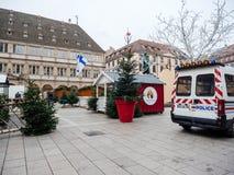 Στρασβούργο Γαλλία μετά από τις τρομοκρατικές επιθέσεις στην αγορά Χριστουγέννων στοκ εικόνες