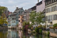 Στρασβούργο, μέρος του συμπαθητικού σπιτιού στη λεπτοκαμωμένη περιοχή της Γαλλίας Στοκ Φωτογραφίες