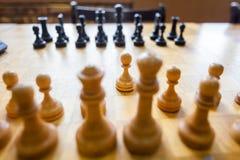 Στρατηγική θέσης μάχης παιχνιδιού επιτραπέζιων παιχνιδιών σκακιού Στοκ Εικόνα