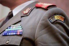Στρατιωτικά διακριτικά σε μια στρατιωτική στολή Στοκ Εικόνα