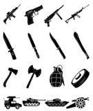 Στρατιωτικά εικονίδια όπλων καθορισμένα Στοκ Φωτογραφίες