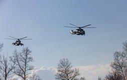 Στρατιωτικά ελικόπτερα στο καθήκον αγώνα Στοκ εικόνες με δικαίωμα ελεύθερης χρήσης