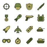 Στρατιωτικά και πολεμικά εικονίδια απεικόνιση αποθεμάτων