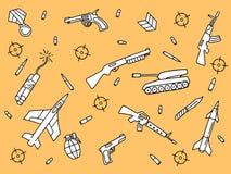 Στρατιωτικά κυνηγετικό όπλο και περίστροφο ρευμάτων ποταμού αντικειμένου τέχνης Doodle με το κίτρινο πορτοκαλί υπόβαθρο απεικόνιση αποθεμάτων