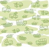 Στρατιωτικά οχήματα, άνευ ραφής, άσπρος-πράσινο υπόβαθρο Στοκ εικόνες με δικαίωμα ελεύθερης χρήσης
