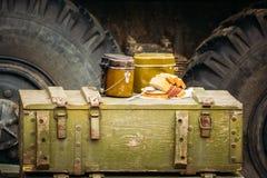 Στρατιωτικά δοχεία τροφίμων στα κιβώτια Στοκ Εικόνες