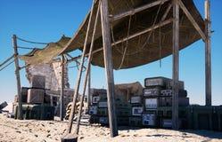 Στρατιωτική βάση, έδρα στην ανατολική έρημο Έννοια τρομοκρατίας τρισδιάστατη απόδοση ελεύθερη απεικόνιση δικαιώματος