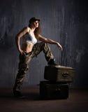 Στρατιωτική γυναίκα Στοκ Φωτογραφία