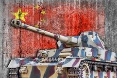 Στρατιωτική δεξαμενή με τη συγκεκριμένη σημαία της Κίνας Στοκ φωτογραφία με δικαίωμα ελεύθερης χρήσης
