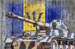 Στρατιωτική δεξαμενή με τη συγκεκριμένη σημαία των Μπαρμπάντος Στοκ Φωτογραφίες