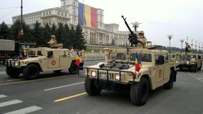 Στρατιωτική εκπαίδευση για τη εθνική μέρα της Ρουμανίας Στοκ Φωτογραφίες