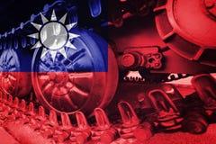 Στρατιωτική διαδρομή του Caterpillar κινηματογραφήσεων σε πρώτο πλάνο δεξαμενών με τη σημαία Backgr της Ταϊβάν Στοκ φωτογραφία με δικαίωμα ελεύθερης χρήσης