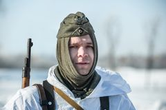 Στρατιωτική ιστορική αναπαράσταση «άθλος του Αλεξάνδρου Matrosov» στοκ εικόνα