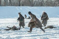 Στρατιωτική ιστορική αναπαράσταση «άθλος του Αλεξάνδρου Matrosov» στοκ εικόνες