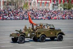 Στρατιωτική παρέλαση κατά τη διάρκεια του εορτασμού της ημέρας νίκης Στοκ Εικόνες