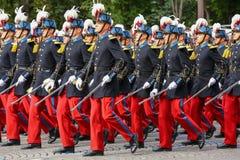 Στρατιωτική παρέλαση (Defile) κατά τη διάρκεια του εθιμοτυπικού της γαλλικής εθνικής μέρας, λεωφόρος Champs Elysee Στοκ φωτογραφίες με δικαίωμα ελεύθερης χρήσης