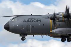 Στρατιωτική υπεράσπιση και διαστημικά αεροσκάφη φ-WWMZ airbus airbus μεταφορών ατλάντων A400M τεσσάρων μηχανών μεγάλα στρατιωτικά Στοκ Εικόνα