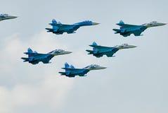 Στρατιωτικοί μαχητές SU-27 αέρα Στοκ εικόνες με δικαίωμα ελεύθερης χρήσης