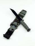 Στρατιωτικός αγώνα Κα-φραγμός σχεδίων μαχαιριών διαγώνιος καμία ευρεία συγκομιδή λογότυπων Στοκ Φωτογραφίες