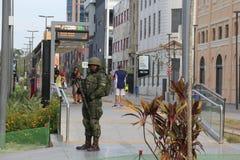 Στρατιωτικός δεν θα ενισχύσει την ασφάλεια του Ρίο ντε Τζανέιρο καρναβάλι Στοκ εικόνες με δικαίωμα ελεύθερης χρήσης