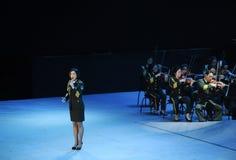 Στρατιωτικός διάσημος τραγουδιστής της Κίνας baixue-theFamous και classicconcert Στοκ Φωτογραφία