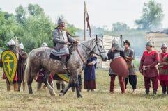 Στρατιωτικός-ιστορική αναδημιουργία ` που στέκεται στον ποταμό Ugra ` στην περιοχή Kaluga της Ρωσίας στοκ εικόνες με δικαίωμα ελεύθερης χρήσης
