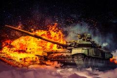 Στρατιωτικός κατέστρεψε την εχθρική δεξαμενή Στοκ εικόνες με δικαίωμα ελεύθερης χρήσης