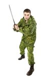 Στρατιωτικός με τη λεπίδα Στοκ Φωτογραφίες