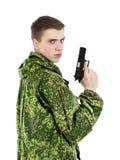 Στρατιωτικός με το πυροβόλο όπλο στοκ εικόνες με δικαίωμα ελεύθερης χρήσης
