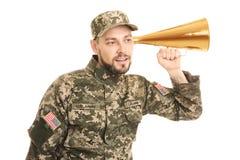 Στρατιωτικός με megaphone στοκ φωτογραφίες