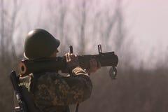 Στρατιωτικός πυροβολισμός από το μπαζούκας στο warfield Στοκ Εικόνες
