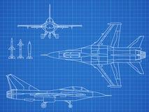 Στρατιωτικό αεριωθούμενων αεροπλάνων αεροσκαφών σχέδιο σχεδιαγραμμάτων σχεδίων διανυσματικό διανυσματική απεικόνιση