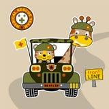 Στρατιωτικό αυτοκίνητο κινούμενων σχεδίων και ζωικοί στρατιώτες απεικόνιση αποθεμάτων