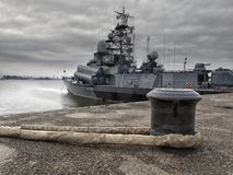 στρατιωτικό διάνυσμα πολεμικών πλοίων απεικόνισης θωρηκτών τέχνης Στοκ Εικόνα