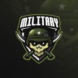 Στρατιωτικό διάνυσμα σχεδίου λογότυπων μασκότ κρανίων με το σύγχρονο ύφος έννοιας απεικόνισης για την εκτύπωση διακριτικών, εμβλη διανυσματική απεικόνιση