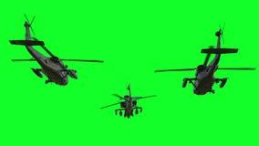 Στρατιωτικό ελικόπτερο uh-60 μαύρη ρεαλιστική τρισδιάστατη ζωτικότητα γερακιών πράσινη οθόνη διανυσματική απεικόνιση