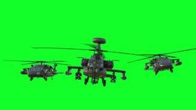 Στρατιωτικό ελικόπτερο uh-60 μαύρη ρεαλιστική τρισδιάστατη ζωτικότητα γερακιών πράσινη οθόνη ελεύθερη απεικόνιση δικαιώματος