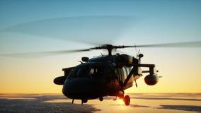 Στρατιωτικό ελικόπτερο uh-60 μαύρο γεράκι, wonderfull ηλιοβασίλεμα Ρεαλιστικές ΓΠ ζωτικότητας απεικόνιση αποθεμάτων