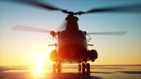 Στρατιωτικό σινούκ ελικοπτέρων, wonderfull ηλιοβασίλεμα Ρεαλιστικές ΓΠ ζωτικότητας απόθεμα βίντεο