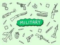 Στρατιωτικό σκίτσο χεριών τέχνης doodle με τα αεροσκάφη ρευμάτων ποταμού δεξαμενών με το κείμενο εμβλημάτων με το πράσινο υπόβαθρ διανυσματική απεικόνιση