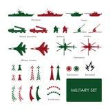 Στρατιωτικό σύνολο για τον τακτικό χάρτη με τα λεπτομερή εικονίδια Στοκ Εικόνα