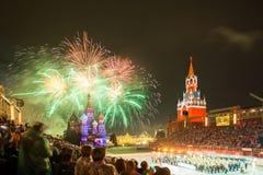 Στρατιωτικό φεστιβάλ μουσικής δερματοστιξιών του Κρεμλίνου στην κόκκινη πλατεία Στοκ Φωτογραφία